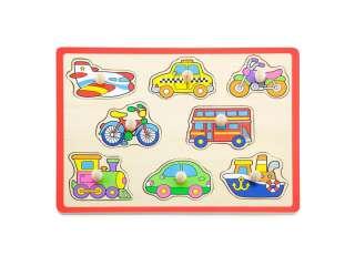 Деревянная рамка-вкладыш Viga Toys Цветной транспорт (50016)
