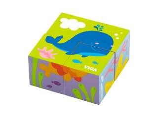 Деревянные кубики-пазл Viga Toys Подводный мир (50161)