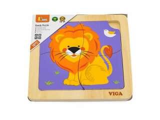 Деревянный мини-пазл Viga Toys Лев, 4 эл. (51316)